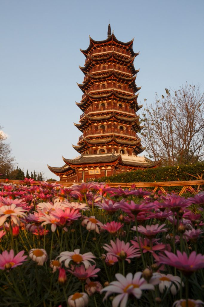 traditional chinese pagoda in the sunset