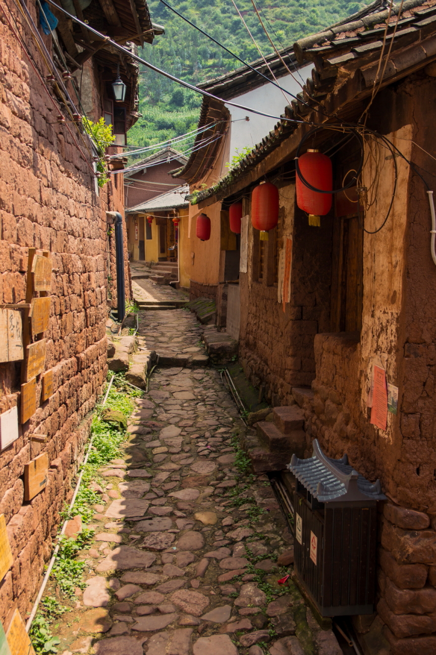 old chinese village in yunnan province