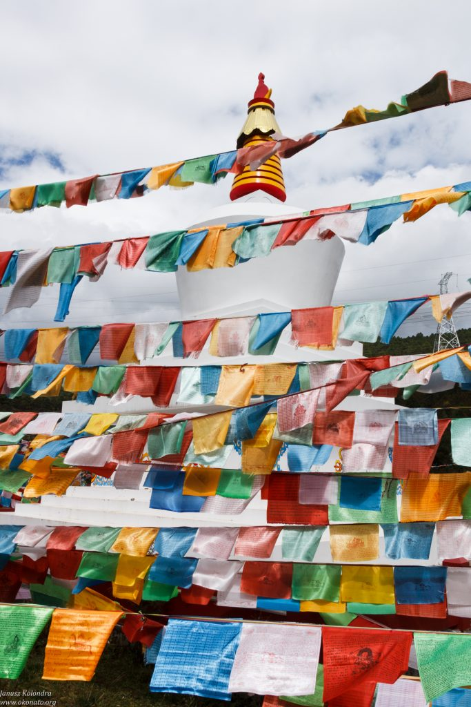 stupa and praying flags